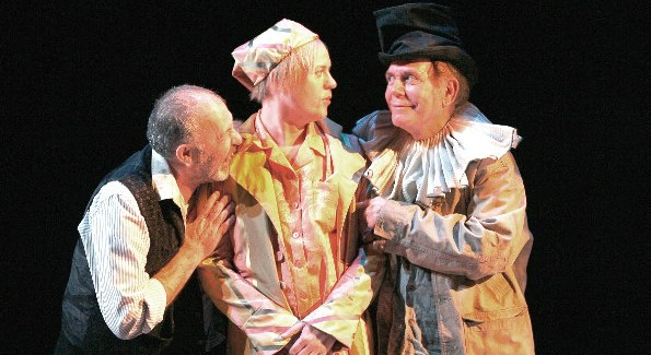 Rick Foucheux as Sir Toby Belch, Tom Story as Sir Andrew Aguecheek and Floyd King as Feste in the Shakespeare Theatre Company's 2008 production of Twelfth Night, directed by Rebecca Bayla Taichman.  Photo by Carol Rosegg.