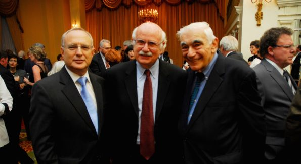 David Saperstein, Fred Wertheimer and David Cohen celebrate Common Cause's 40th Anniversary. Photo by Kyle Samperton.
