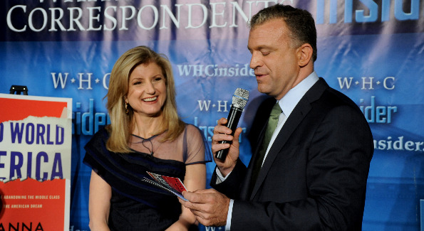 Arianna Huffington, pictured with Dylan Ratigan, dazzles as her new book is promoted.