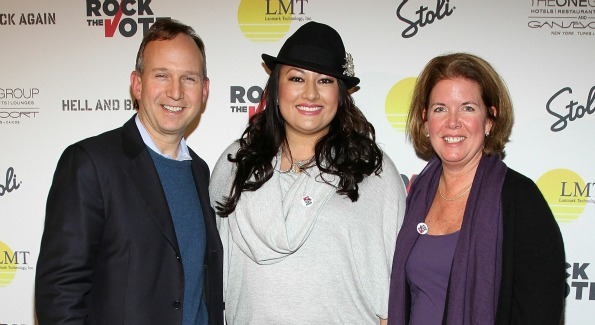 "Delaware Governor Jack Markell and wife Carla Markell and Lani Hay (C) attend the Rock The Vote Hosted By Lani Hay Honoring ""Hell And Back Again"" at Jean Louis on January 22, 2011 in Park City, Utah. Photo by Jerritt Clark/WireImage."