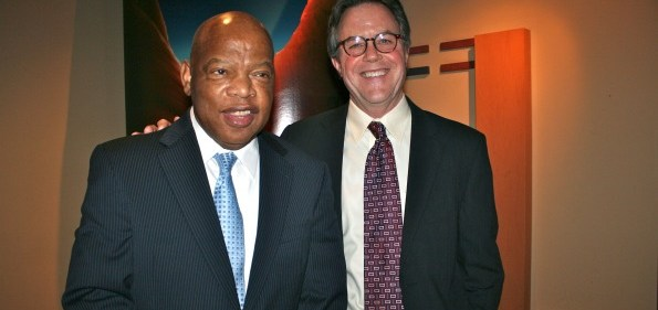 Rep. John Lewis with filmmaker Morgan Atkinson.