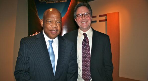 Rep. John Lewis with filmmaker Morgan Atkinson.