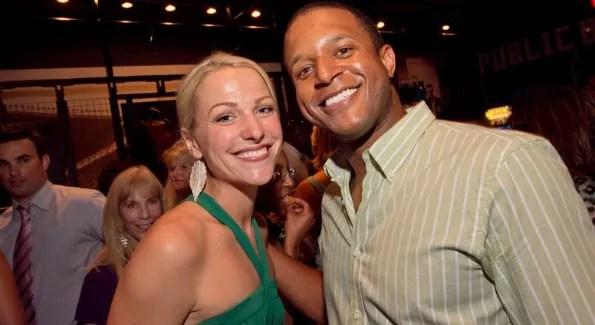 Lindsay Czarniak and NBC 4's Craig Melvin pose for a photo at Czarniak's farewell party at sports bar Public.