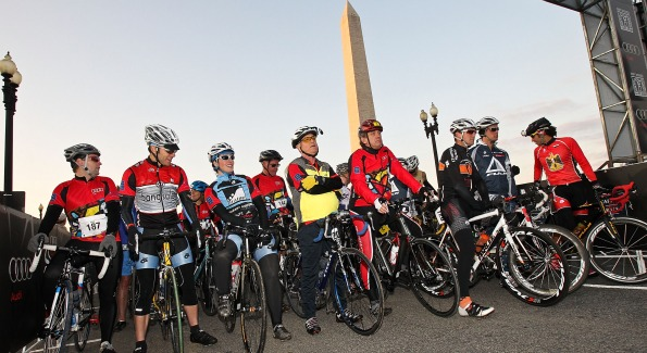 "Cyclists at the starting line for ""Audi Best Buddies International"""