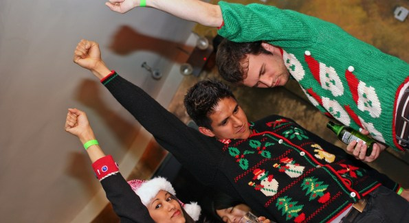 Christmas sweaters ban together to add an ugly, but unique twist to the typical holiday parties. (photo by Kelly Samardak, courtesy of MediaPost Communications)