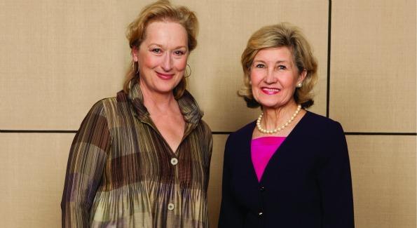 Meryl Streep and Sen. Kay Bailey Hutchison at the De Pizan Honors Gala. (photo by Jan Duplain)