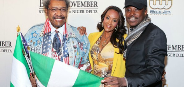"Don King, Vivica A. Fox and director Jeta Amata attending the ""Black November"" film screening at The Library of Congress. (Photo: Paul Morigi/WireImage for Wells & Jeta Entertainment)"