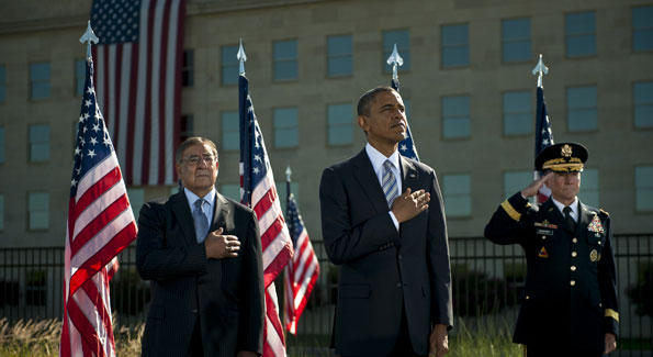 Secretary of Defense Leon Panetta with President Barack Obama at last week's Pentagon memorial for 9/11. (Photo via Wikimedia Commons)