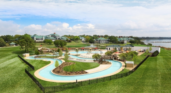 Kingsmill Resort's River Pool complex features a lazy river, waterslide, pool, jacuzzi and restaurant/bar. Photo courtesy of Kingsmill Resort.