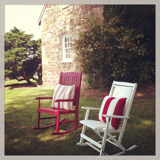 Rocking chairs invite guests to linger.
