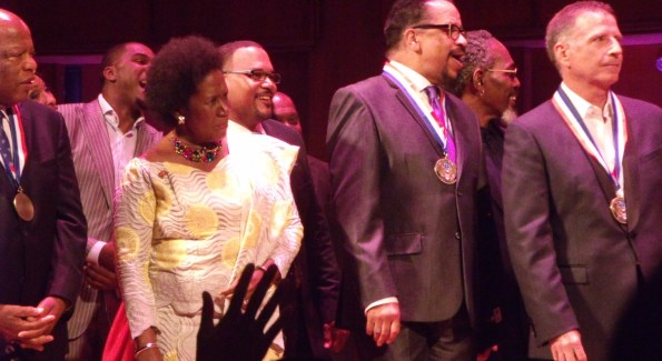 Congressman John Lewis, Bill Hearn, Congresswoman Shelia Jackson Lee and Richard Smallwood on stage during the presentation's finale at The Kennedy Center. (Photo by Patrick D. McCoy)