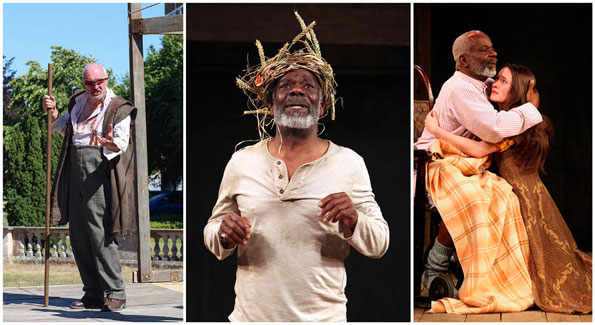 From left: John Stahl (Photo by Helena Miscioscia), Joseph Marcell (Photo by Ellie Kurttz), and Marcell and Bethan Cullinane (Photo by Ellie Kurttz) in Shakespeare Globe Theatre's 'King Lear' at Folger Theatre.