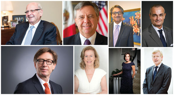 Clockwise from top left: Mike Moore - New Zealand, Eduardo Mora - Mexico, Jalil Abbas Jilani - Pakistan, Gerard Araud - France, Peter Wittig - Germany, Anne Anderson - Ireland, Maguy Maccario Doyle - Monaco (Photo by Tony Powell), Kare Aas - Norway (Photo by Yassine El Mansouri). (Photos courtesy of each embassy, except where noted).