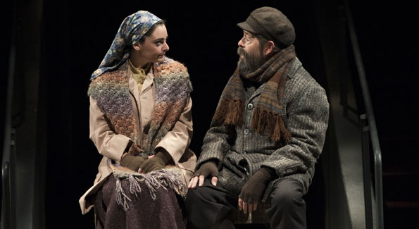 Hannah Corneau as Hodel and Jonathan Hadary as Tevye in Arena Stage's 'Fiddler on the Roof.' (Photo by Margot Schulman)