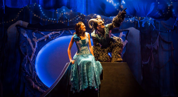 "Irinka Kavsadze as Belle, and Vato Tsikurishvili as The Beast in Synetic Theatre's production of ""Beauty and the Beast."" (Photo by Johnny Shryock)"
