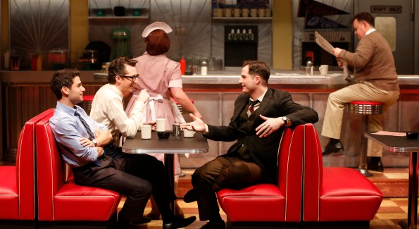 Adam Kantor, Josh Grisetti and Bryan Fenkart in Diner at Signature Theatre. (Photo by Carol Rosegg)