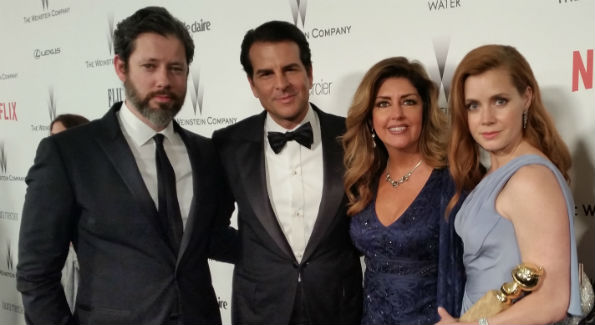 Darren La Gallo, Vincent De Paul, Elizabeth Webster and Amy Adams at the Golden Globe Awards (Photo by Vincent De Paul)