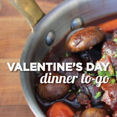 Grab a cozy Valentine's Day dinner for two, including Coq au Viin and wine, at Society Fair. Photo courtesy of Society Fair.