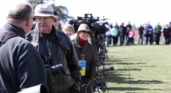 Members of the media wait for Prince Charles at Mount Vernon (Photo by John Arundel)