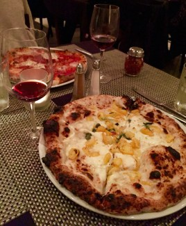 "The ""Sapori e Profumi d' Amalfi"" pizza, the ""Diavola,"" and some Sangiovese made for the perfect combination of flavors."