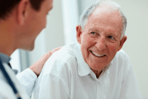 Neurologist physician with patient