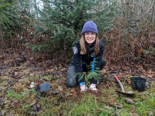 WSC member Abigail serving with Skagit Land Trust in Mt. Vernon, WA