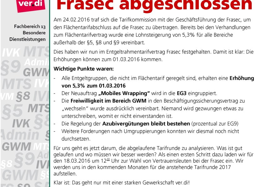 Haustarifvertrag Frasec abgeschlossen