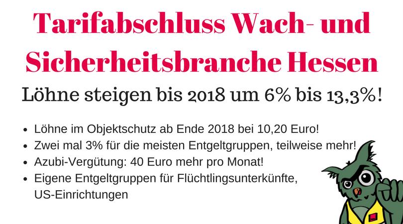 Tarifergebnis Wach- und Sicherheitsgewerbe Hessen