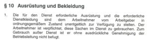 § 10 Mantelrahmentarifvertrag