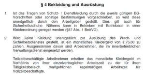 § 4 MTV Bewachung Hessen - Bekleidung und Ausrüstung, Kleidergeld