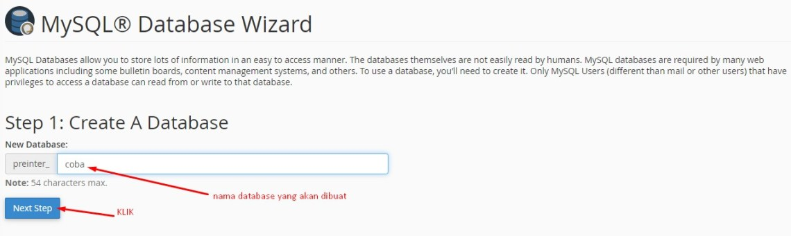database create wizard