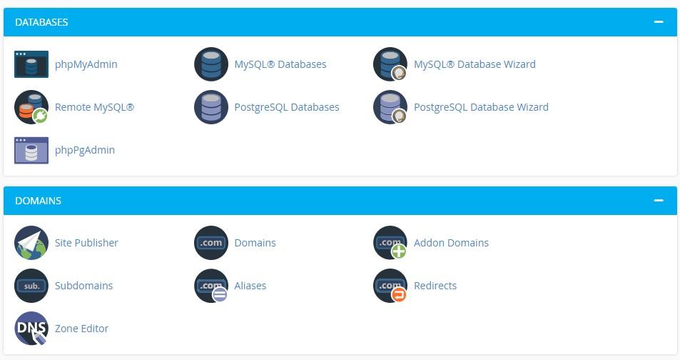 menu database dan doman