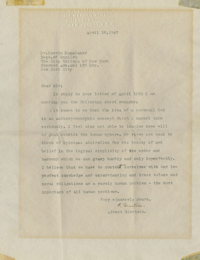 Copy of a letter from Einstein praising views of Spinoza in 1949.