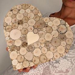 Gästebuch Hochzeit, Herz, Holzdeko