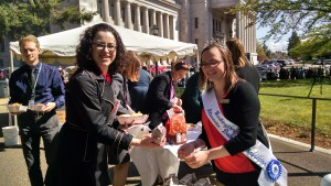April 2015 -- Dairy Ambassador Marissa Apperson gives milk to all who attended the Beef Day at the Legislature.