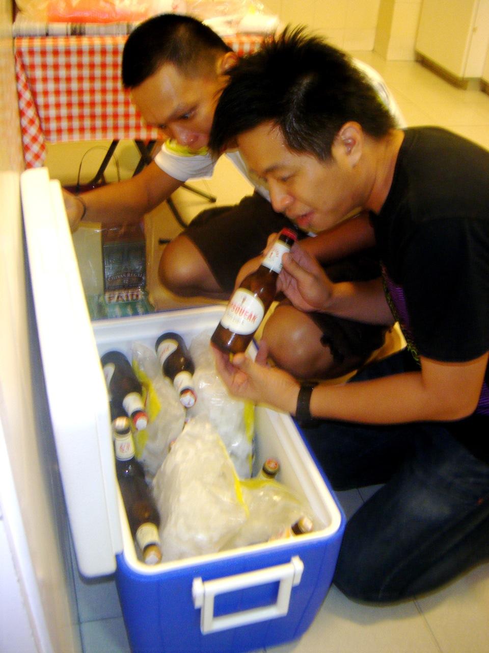 Edwin & Paul find the treasure chest. Alcohol galore!