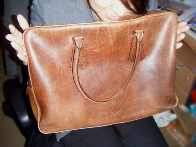 Brown leather bag from a vintage shop in London