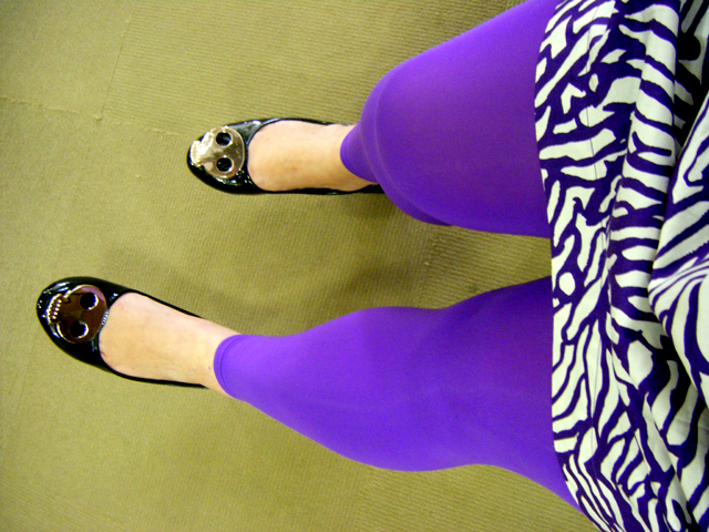Purple tights & a crazy purple print tunic top from FRENCH CONNECTION
