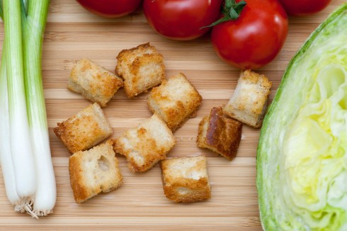 BREAD: Garlic croutons