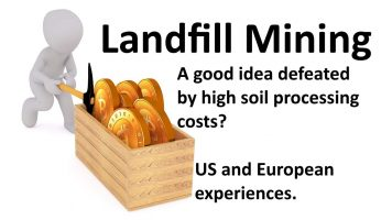 Image shows a cartoon figure mining for gold, to show what has been discovered about landfill mining since 2008.