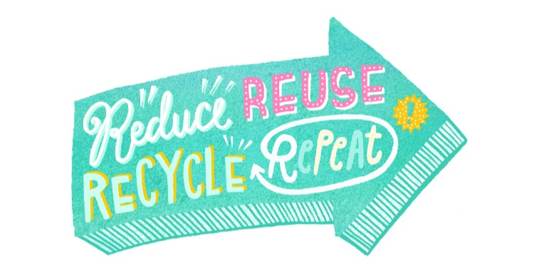 Image encouraging people to Reduce, Reuse and Recycle.