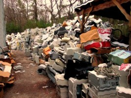 Image of WEEE waste (waste electrical goods).