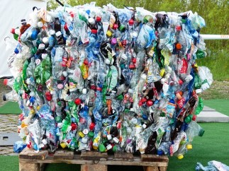 Image shows recycling problems with plastic bales.