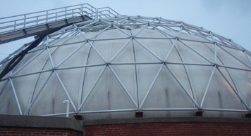 Image illustrates a biogas holder as part of our Greenhouse Gases Effect 5% Reduction with Circular Economy, article.