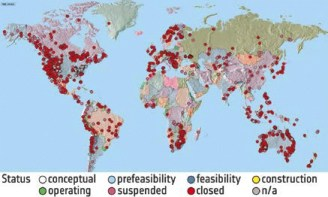 map of inactive mines around the world