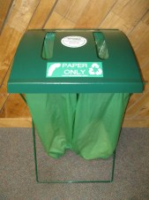 Portable recycling equipment available includes frames for collecting paper during indoor events.