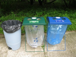 Portable recycling equipment available includes frames for collecting plastic bottles and deposit containers.