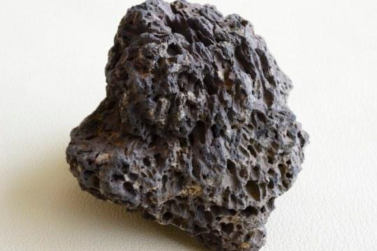 富士山の噴石(スコリア)のクローズアップ。本栖湖の湖岸にて採取。