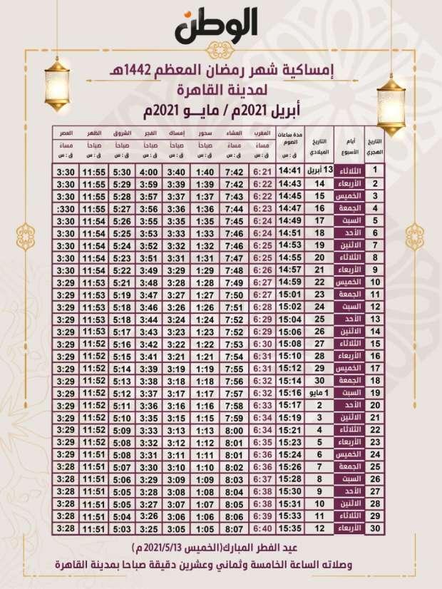 تعرف على موعد أول أيام شهر رمضان 2021 في مصر فلكيا أي خدمة الوطن