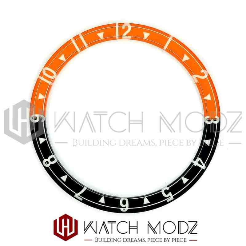 38 millimeter umed glass bezel insert orange and black dual time for skx007